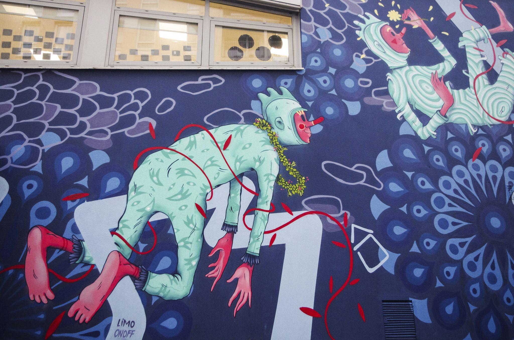 Fresque de Limo à l'école Jacquier (Paris 14)